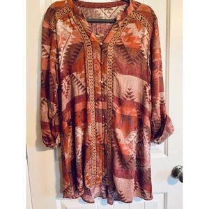 Orange, Brown, Cream Button Lace Aztec Dress. 🍁🍂